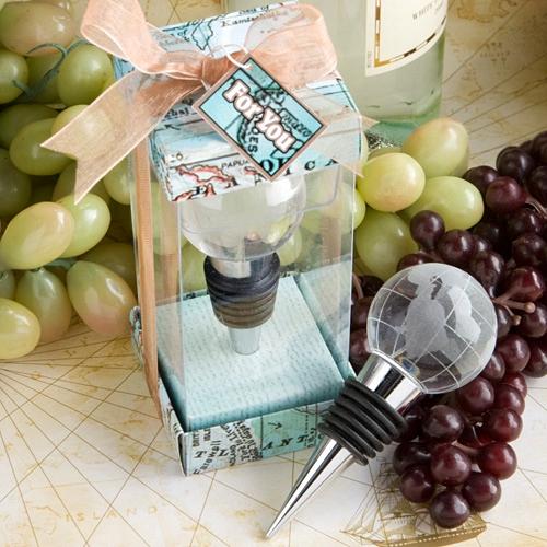 FashionCraft Glass Globe Design Wine Bottle Stopper Favor
