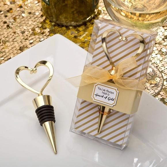 FashionCraft Gold Heart Design Wine Bottle Stopper