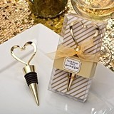 FashionCraft Gold Heart Design Wine Bottle Stopper