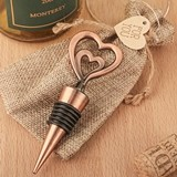 FashionCraft Double Heart Bottle Stopper in Antique Copper Finish