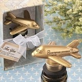 FashionCraft Antiqued-Gold-Finish Vintage Airplane Bottle Stopper