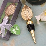 FashionCraft Gold-Colored-Finish Leaf Design Bottle Stopper