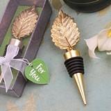 FashionCraft Gold-Colored-Finish Leaf Design Bottle Stopper