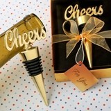 FashionCraft Cheers Charm-Topped Gold-Metal Bottle Stopper
