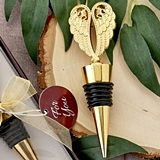 FashionCraft Gold-Colored Molded-Metal Angel Wings Bottle Stopper