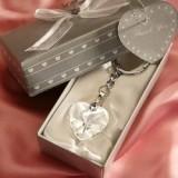 Chrome Key Chain With Crystal Heart