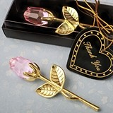 FashionCraft Choice Crystal Collection Gold-Plated Long Stem Pink Rose