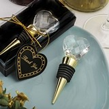 FashionCraft Choice Crystal Golden Bottle Stopper with Crystal Heart