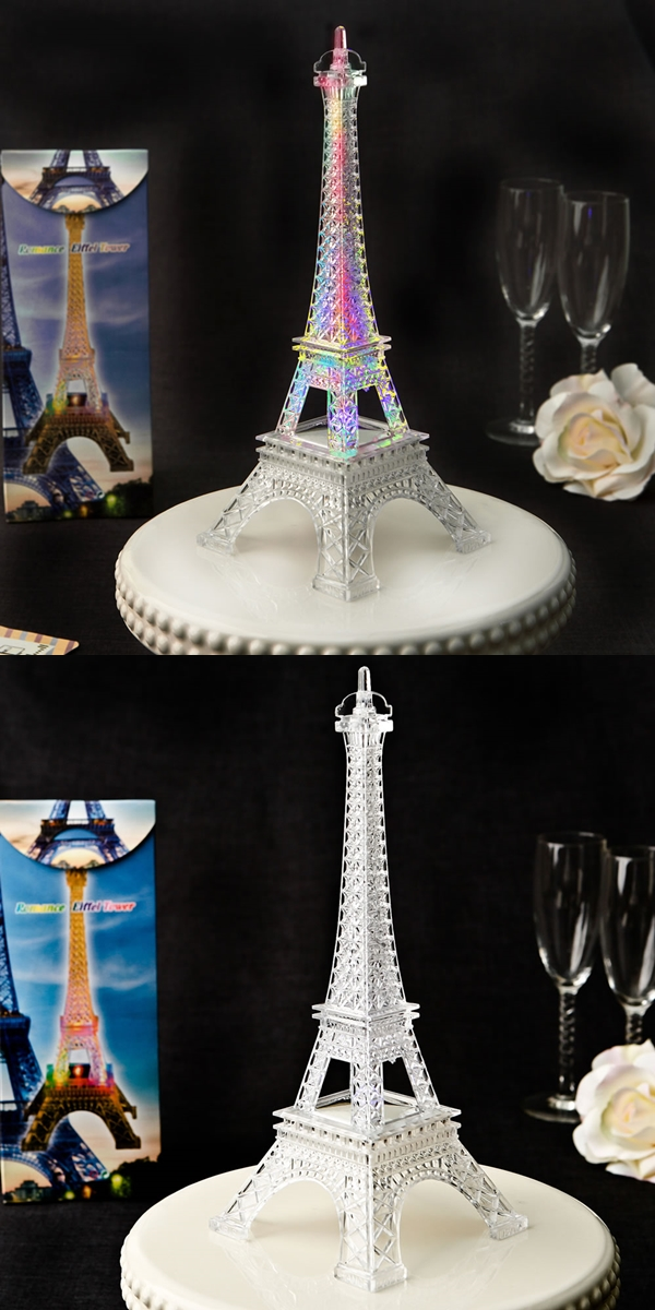 Eiffel Tower Centerpiece/Cake Topper with Multi Colored LED Lights