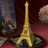Gold Glitter Eiffel Tower Centerpiece with Multi Colored LED Lights