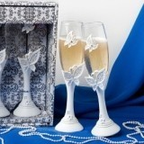 FashionCraft Butterfly Design Toasting Flutes