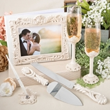 FashionCraft Vintage Design Antiqued Ivory Wedding Day Accessory Set