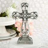 FashionCraft Large Pewter Cross Statue with Antique Accents