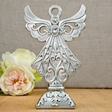 FashionCraft Stunning Angel Statue in Silver Poly-Resin w/ Rhinestones