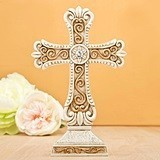 FashionCraft Antique Design Cross Statue in Ivory and Matte Gold
