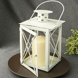 FashionCraft Ivory-Finish-Metal Lantern Centerpiece with Hinged Door
