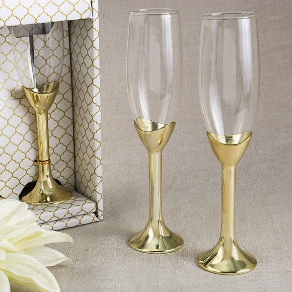 Fashioncraft Glass Champagne Flute with Gold-Plated Polyresin Stem