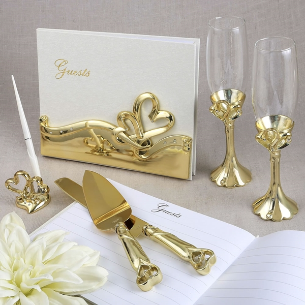 FashionCraft Gold Double Heart Themed Wedding Accessory Set