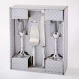 FashionCraft Plain Elegance Silver-Colored 4-Piece Glass & Server Set