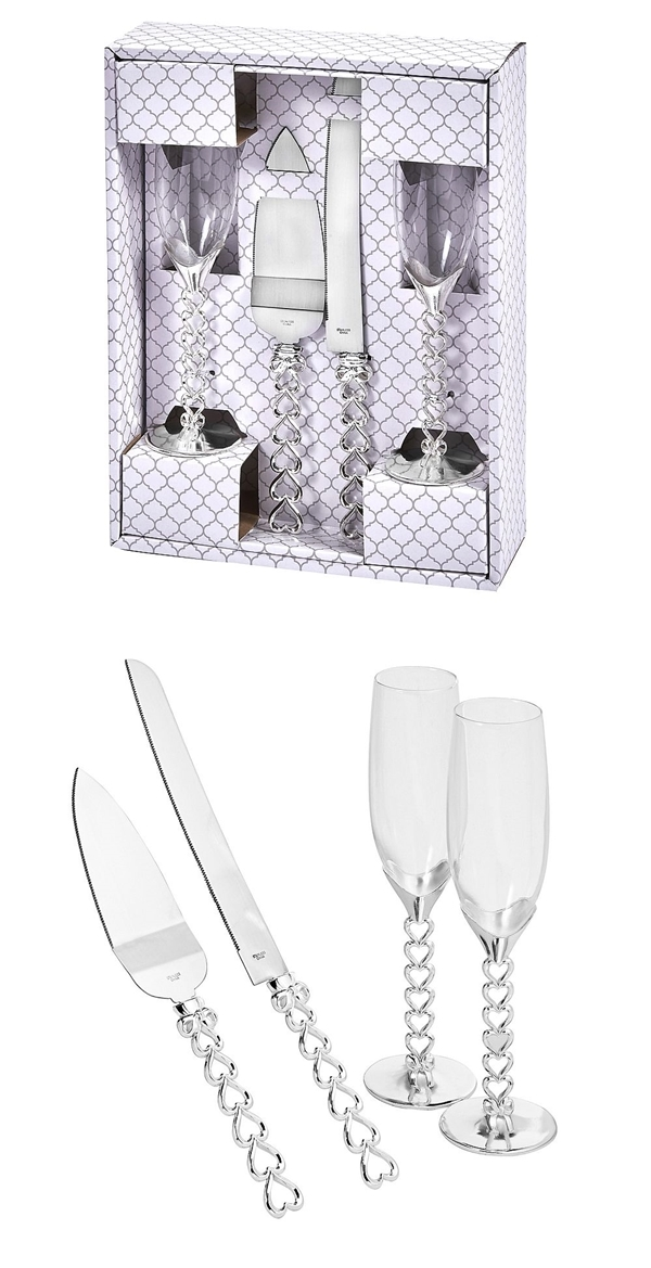 FashionCraft Heart to Heart Silver-Colored 4-Piece Glass & Server Set