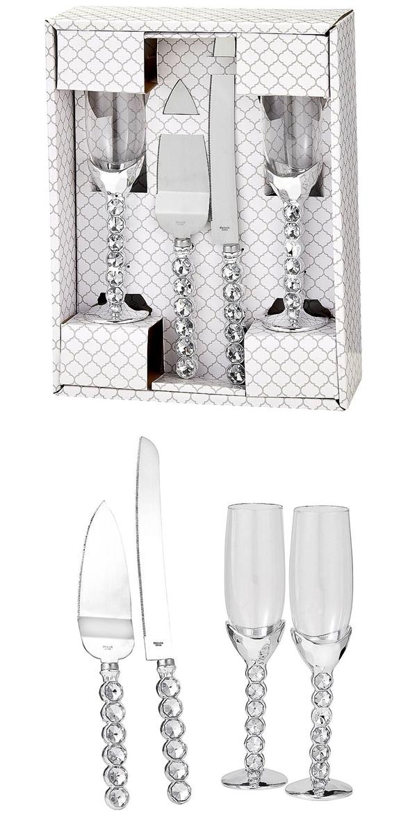 Fashioncraft Glitz & Glamour Flutes & Cake Server Set with Rhinestones