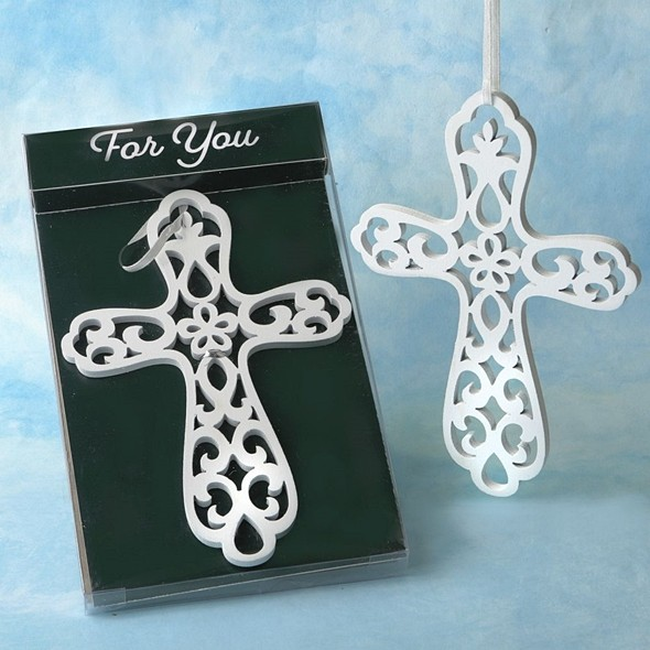 FashionCraft 'Heaven Sent Collection' White Wood Cross Ornament