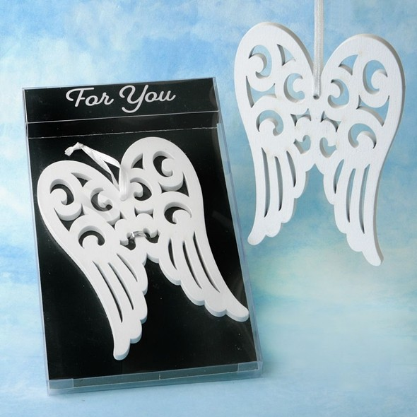 FashionCraft 'Heaven Sent Collection' White Wood Angel Wing Ornament