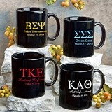 Personalized Silkscreened Greek Designs Black Ceramic Coffee Mugs