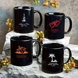 Personalized Silkscreened Black Ceramic Coffee Mug for All Occasions