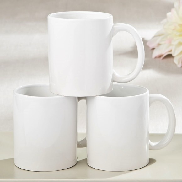 Perfectly Plain Collection White Ceramic Coffee Mug