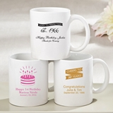 Personalized Silkscreened White Ceramic Coffee Mug (Birthday Designs)