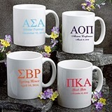 Personalized Silkscreened Greek Designs White Ceramic Coffee Mugs