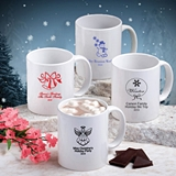 Personalized Silkscreened White Ceramic Coffee Mug (Holiday Designs)