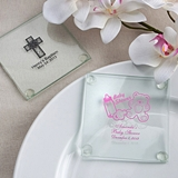 Personalized Silkscreened Glass Coasters (Baby Shower Designs)