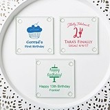 Personalized Silkscreened Glass Coasters with Birthday Designs