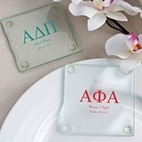 Personalized Silkscreened Glass Coasters with Greek Designs