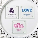 Personalized Silkscreened Glass Coasters with Marquee Designs