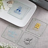 Personalized Silkscreened Monogrammed Collection Glass Coasters