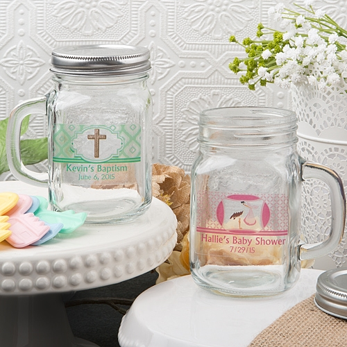 Clearly Custom Collection Personalized Mason Jar (Baby Shower Designs)