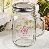 Silkscreened Personalized Baby Shower Glass Mason Jar with Screwtop