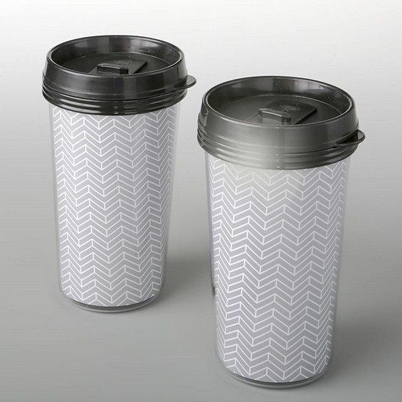 FashionCraft Double Wall Insulated Silver Chevron Pattern Coffee Cup