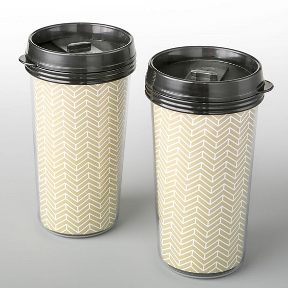FashionCraft Double-Wall Insulated Coffee Cup w/ Gold Chevron Pattern