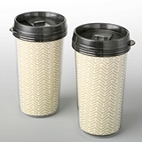 FashionCraft Double Wall Insulated Coffee Cup w/ Gold Chevron Pattern