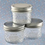 Perfectly Plain Crystal Mason Jelly Jar with Quilted Embossed Design