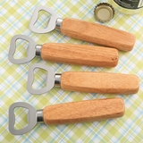 FashionCraft Blank Wood-Handled Bottle Opener with Stainless Steel Top