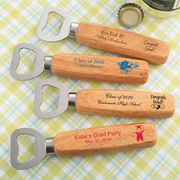 Personalized Wood-Handled Bottle Opener (Graduation Designs)