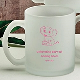 Personalized Silkscreened Baby Shower Frosted Glass Coffee Mugs
