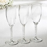 Perfectly Plain Collection Champagne Flutes with a Twist (Set of 12)