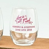Personalized Silkscreened Expressions Collection 9 ounce Wine Glasses