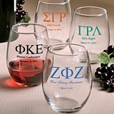 Personalized Stemless 9 Ounce Wine Glasses with Greek Designs